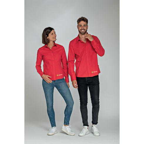 L&S Poplin Longsleeve Shirt damesbloes