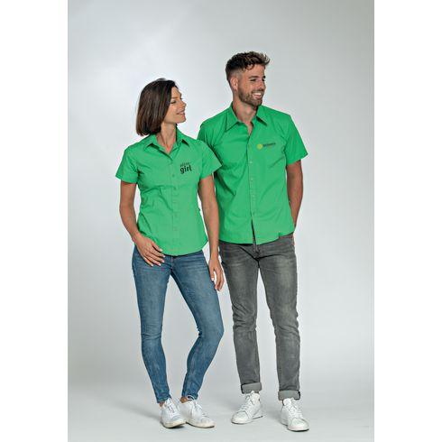 L&S Poplin Shortsleeve Shirt damesbloes