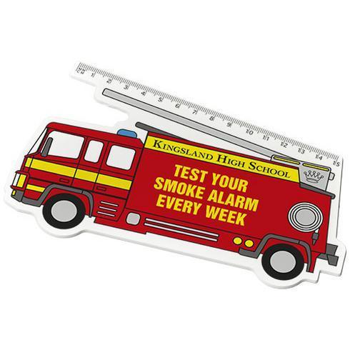 Walker 15 cm kunststof liniaal met brandweerautovorm